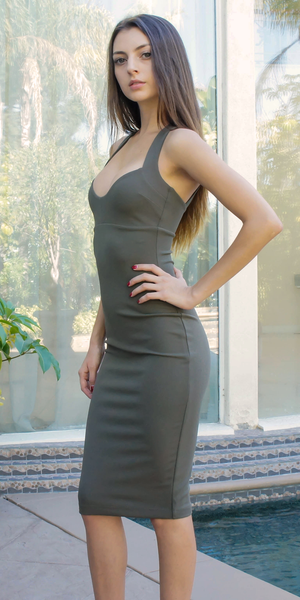 Olive Green Sweetheart Bodycon Dress
