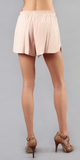 Peach Pink Floral Lace Twill Skort Shorts