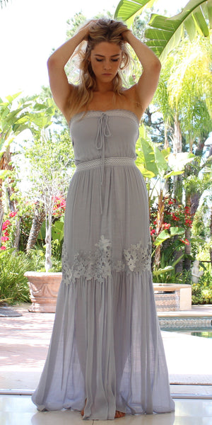 Strapless Periwinkle Floral Lace Twill Maxi Dress