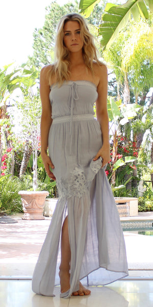 Periwinkle Lace Trimmed Twill Maxi Dress