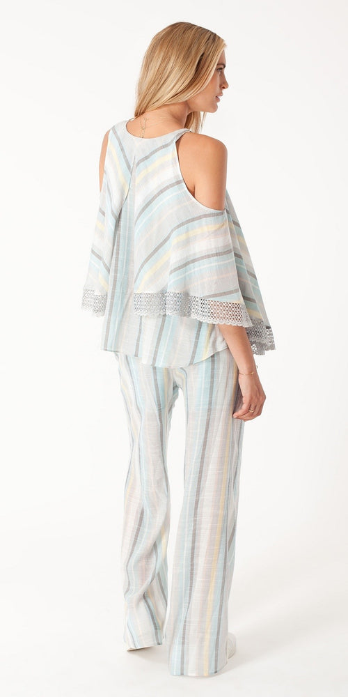 Blue Striped Voile Wide Leg Pants