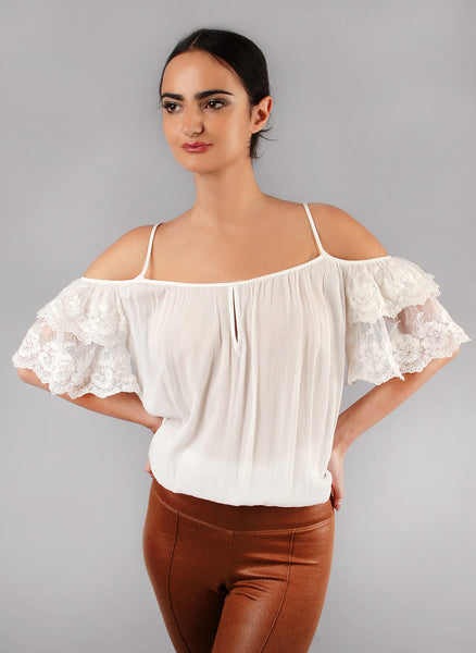 Ivory Floral Lace Cold Shoulder Top
