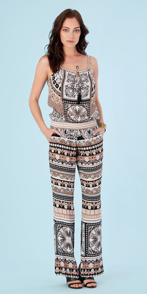 Beige Sleeveless Printed Viscose Crepe Jumpsuit