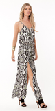 Black And White Printed Crepe Double Slit Maxi Dress
