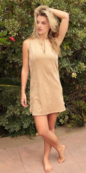 Sleeveless Camel Ultra Suede Shift Dress