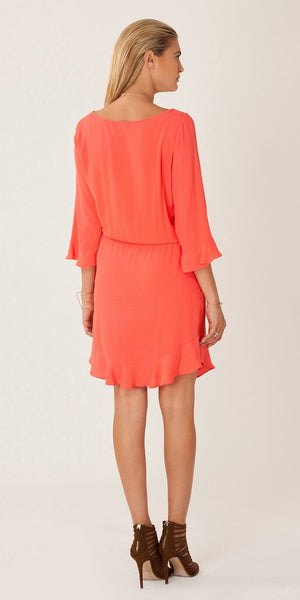 Long Sleeve Coral Viscose Crepe Dress