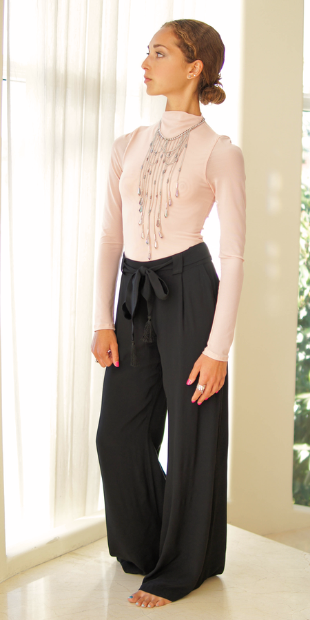 Lace Trimmed Satin Blouse