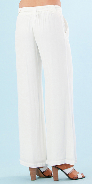 Ivory White Wide Leg Crepe Trousers