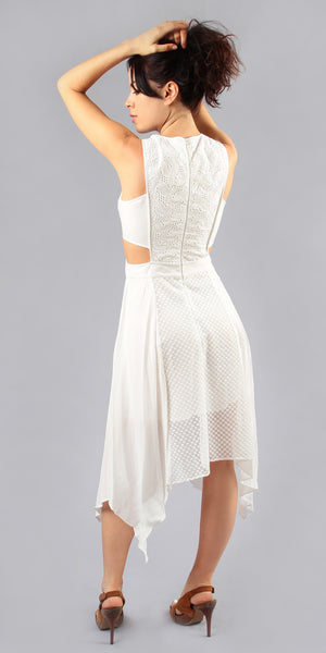 Sleeveless White Cutout Lace Crochet Sundress