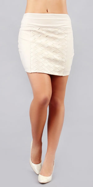 Ivory Ultra Suede Mini Skirt