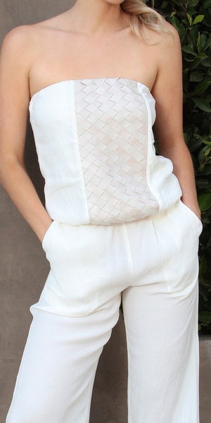 Ivory Woven Knit Strapless Jumpsuit