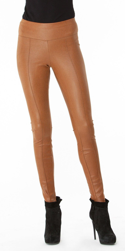 Camel Brown Ultra Suede Pintuck Pants