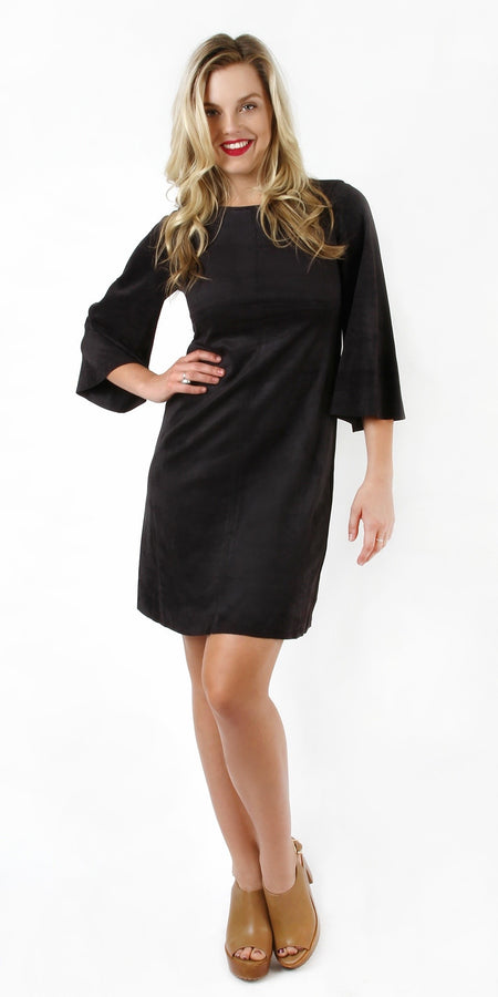 Black Lace Trimmed Satin Dress