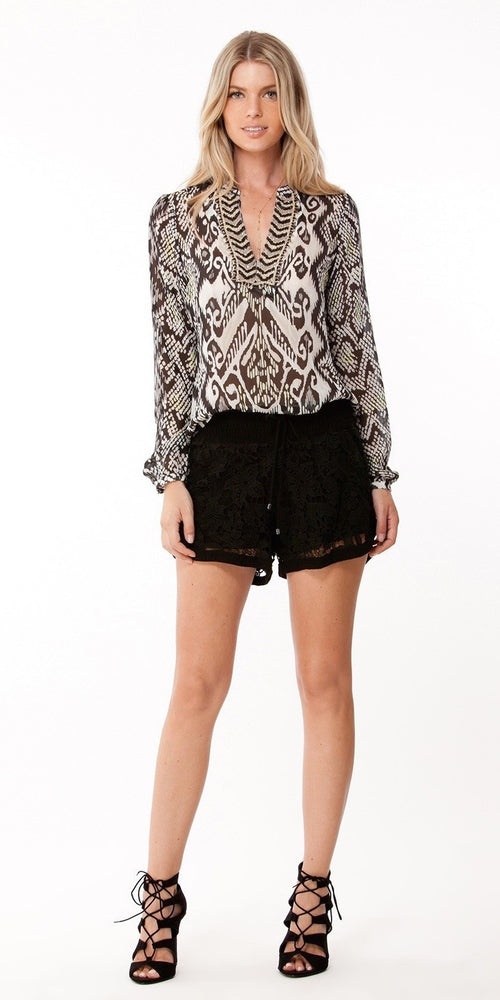 Black Floral Lace Shorts
