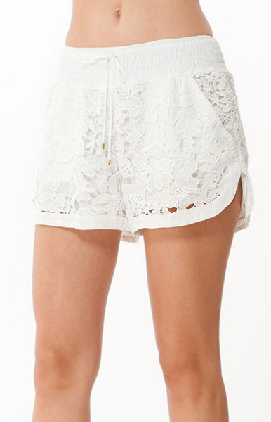Ivory White Floral Lace Shorts