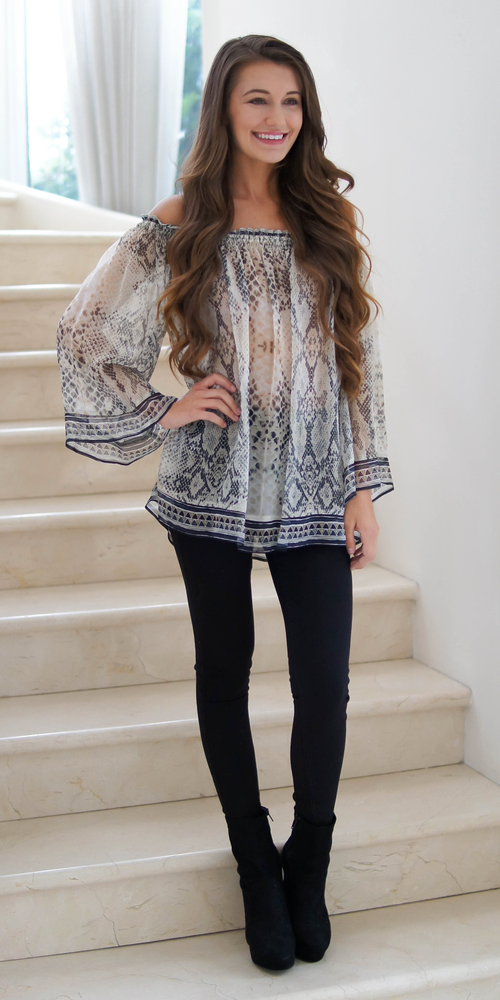 Reptile Print Off Shoulder Silk Blouse