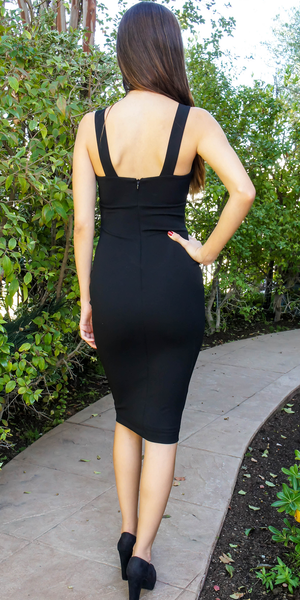 Black V Neck Stretch Crepe Bodycon Dress