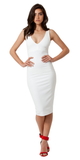 Ivory White V Neck Stretch Crepe Bodycon Dress