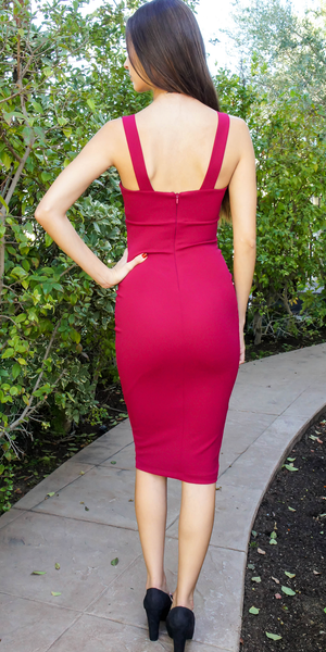 Red V Neck Stretch Crepe Bodycon Dress