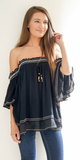 Black Embroidered Off Shoulder Crinkle Gauze Tunic