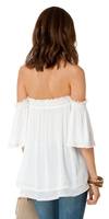 Ivory Embroidered Off Shoulder Crinkle Gauze Tunic