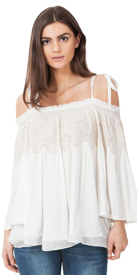 Crinkle Gauze Crochet Cold Shoulder Top