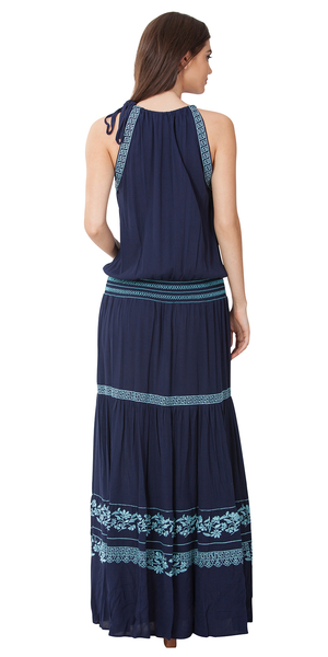Navy Blue Floral Embroidered Maxi Dress