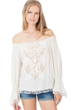 Ivory White Embroidered Crinkle Blouse