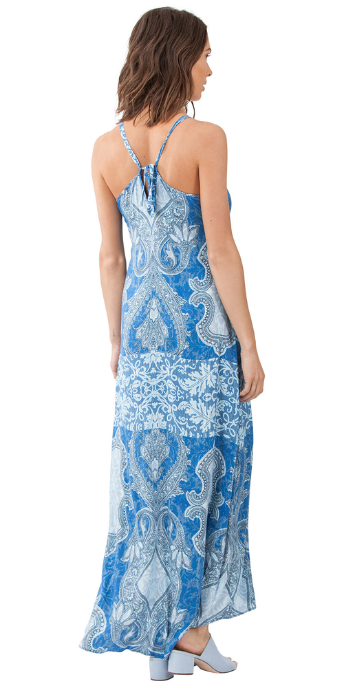 Blue Printed Maxi Dress