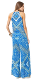 Blue Printed Gauze Jumpsuit with Split Leg Front