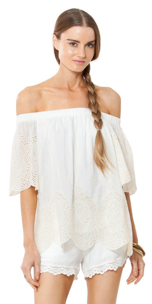 Ivory Silk Cotton Voile Off Shoulder Top