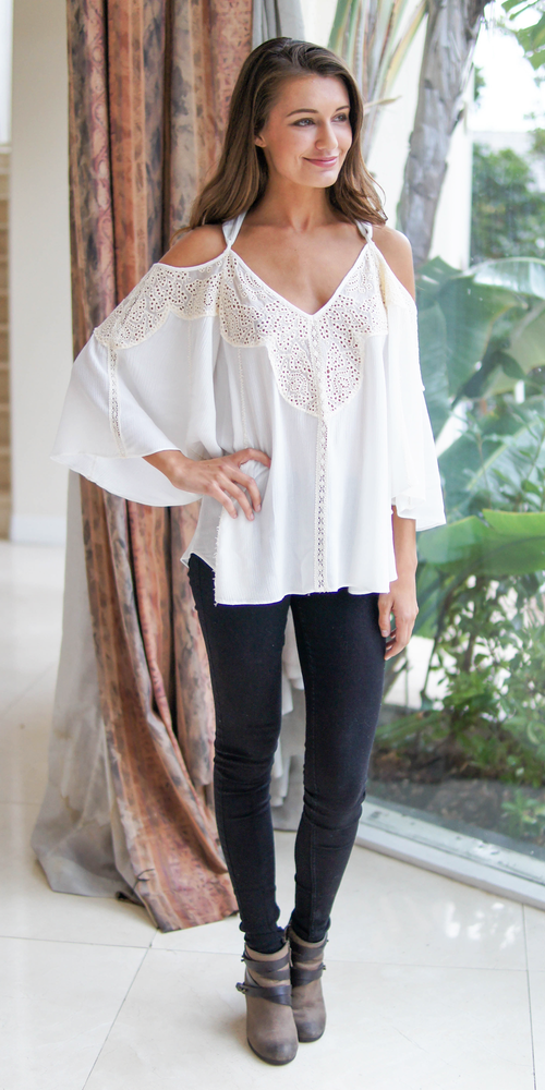 Ivory Crinkle Gauze Crochet Cold Shoulder Top
