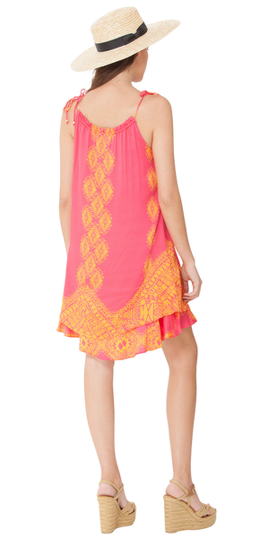 Pink Printed Satin Flounce Sundress
