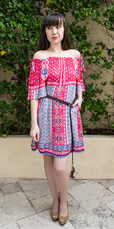 Pink Printed Silk Charmeuse Shirt Dress