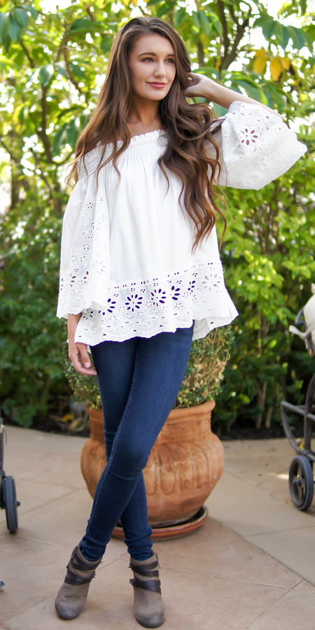 Floral Embroidered Mesh Off Shoulder Top