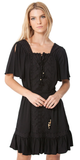 Black Flutter Sleeve Eyelet Peasant Dress