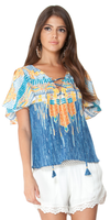 Blue Printed Lace Up Silk Top