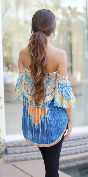 Blue Rayon Printed Off Shoulder Top