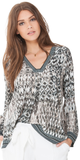 Beige Printed Satin Tunic Top