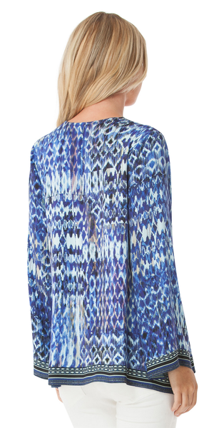 Blue Printed Satin Tunic Top