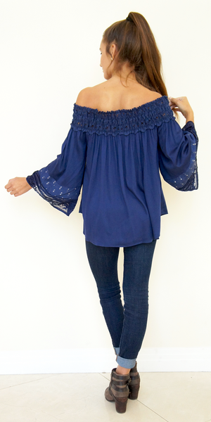 Off Shoulder Silk Trimmed Tunic Top
