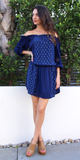 Navy Blouson Off Shoulder Dress