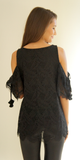 Black Cold Shoulder Lace Top