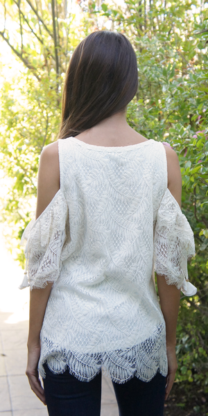 Ivory Cold Shoulder Lace Top