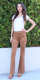 Camel Brown Suede Bootcut Trousers