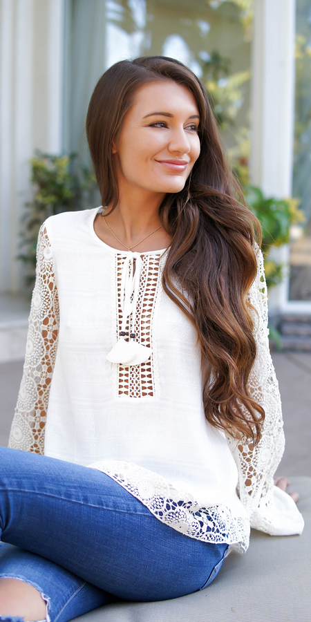 Boho Ivory Cotton Crochet Vest