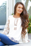 Ivory Jacquard Lace Top