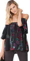 Black Off Shoulder Velvet Floral Silk Blouse