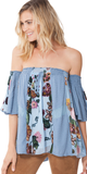Blue Off Shoulder Velvet Floral Silk Blouse