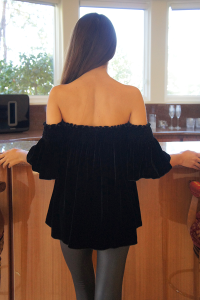 Black Off Shoulder Silk Velvet Top